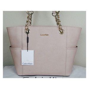 Calvin Klein Saffiano Tote Handbags Dessert Taupe